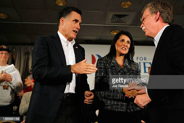 Republican presidential candidate former Massachusetts Gov Mitt Romney South Carolina Gov Nikki Haley a Republican and former Ambassador to the...