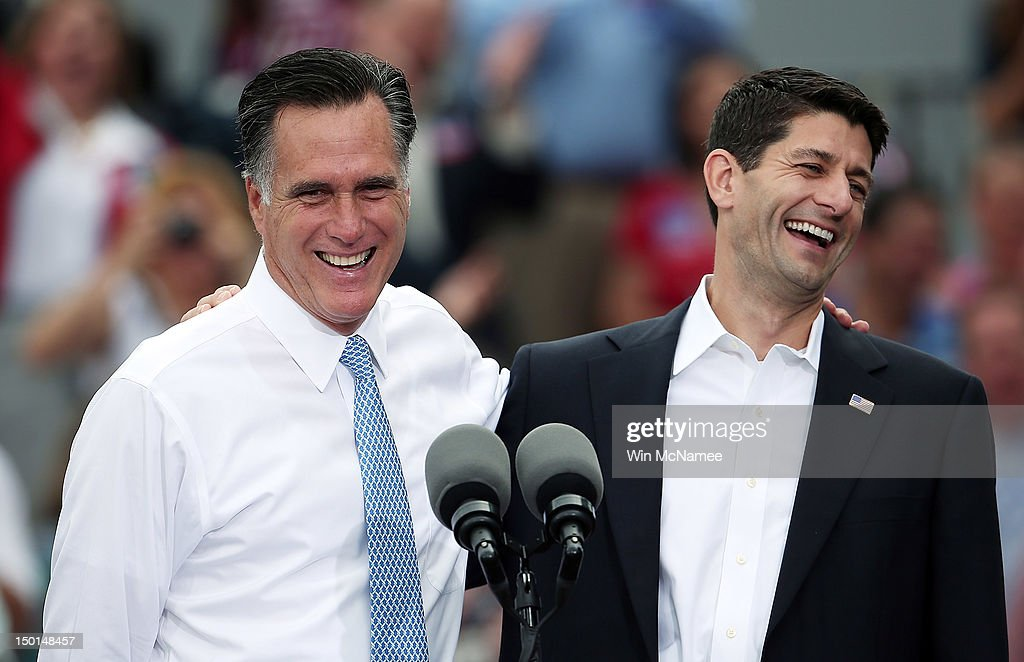 Republican presidential candidate, former Massachusetts Gov. <a gi-track='captionPersonalityLinkClicked' href=/galleries/search?phrase=Mitt+Romney&family=editorial&specificpeople=207106 ng-click='$event.stopPropagation()'>Mitt Romney</a> (L) jokes with Rep. Paul Ryan (R-WI) (R) after announcing him as the 'next PRESIDENT of the United States' during an event announcing him as his running mate in front of the USS Wisconsin August 11, 2012 in Norfolk, Virginia. Ryan, a seven term congressman, is Chairman of the House Budget Committee and provides a strong contrast to the Obama administration on fiscal policy.