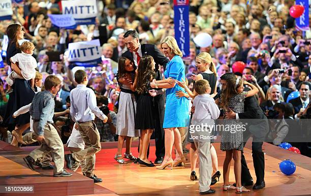 Republican presidential candidate former Massachusetts Gov Mitt Romney stands with his wife Ann Romney and family as Republican vice presidential...