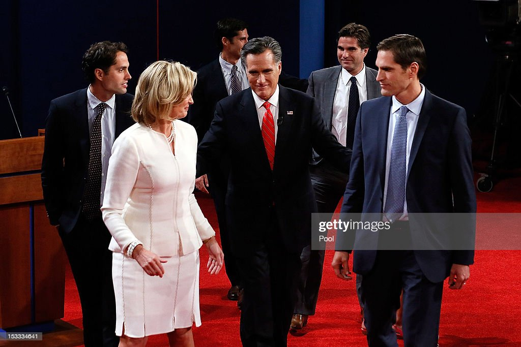Republican presidential candidate, former Massachusetts Gov. Mitt Romney (C) along with his family (L-R) Craig Romney, wife Ann Romney, Matt Romney, Tagg Romney and Josh Romney, walk off stage after the Presidential Debate at the University of Denver on October 3, 2012 in Denver, Colorado. The first of four debates for the 2012 Election, three Presidential and one Vice Presidential, is moderated by PBS's Jim Lehrer and focuses on domestic issues: the economy, health care, and the role of government.