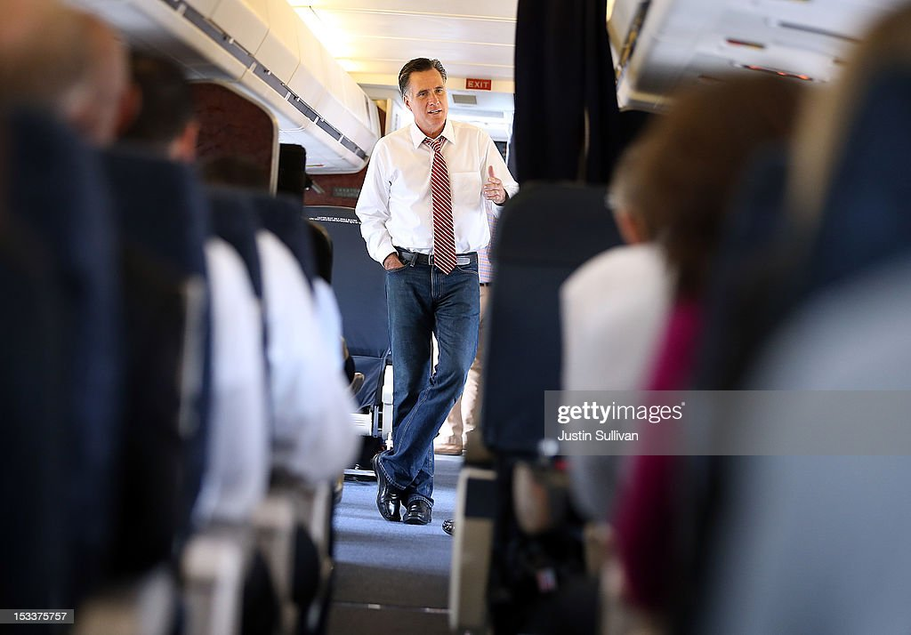 Republican presidential candidate, former Massachusetts Gov. <a gi-track='captionPersonalityLinkClicked' href=/galleries/search?phrase=Mitt+Romney&family=editorial&specificpeople=207106 ng-click='$event.stopPropagation()'>Mitt Romney</a> talks with members of his staff aboard his campaign plane at Denver International Airport on October 4, 2012 in Denver, Colorado. One day after the first presidential debate, <a gi-track='captionPersonalityLinkClicked' href=/galleries/search?phrase=Mitt+Romney&family=editorial&specificpeople=207106 ng-click='$event.stopPropagation()'>Mitt Romney</a> spoke to the CPAC before heading to Virginia to campaign with his running mate Rep. Paul Ryan (R-WI).