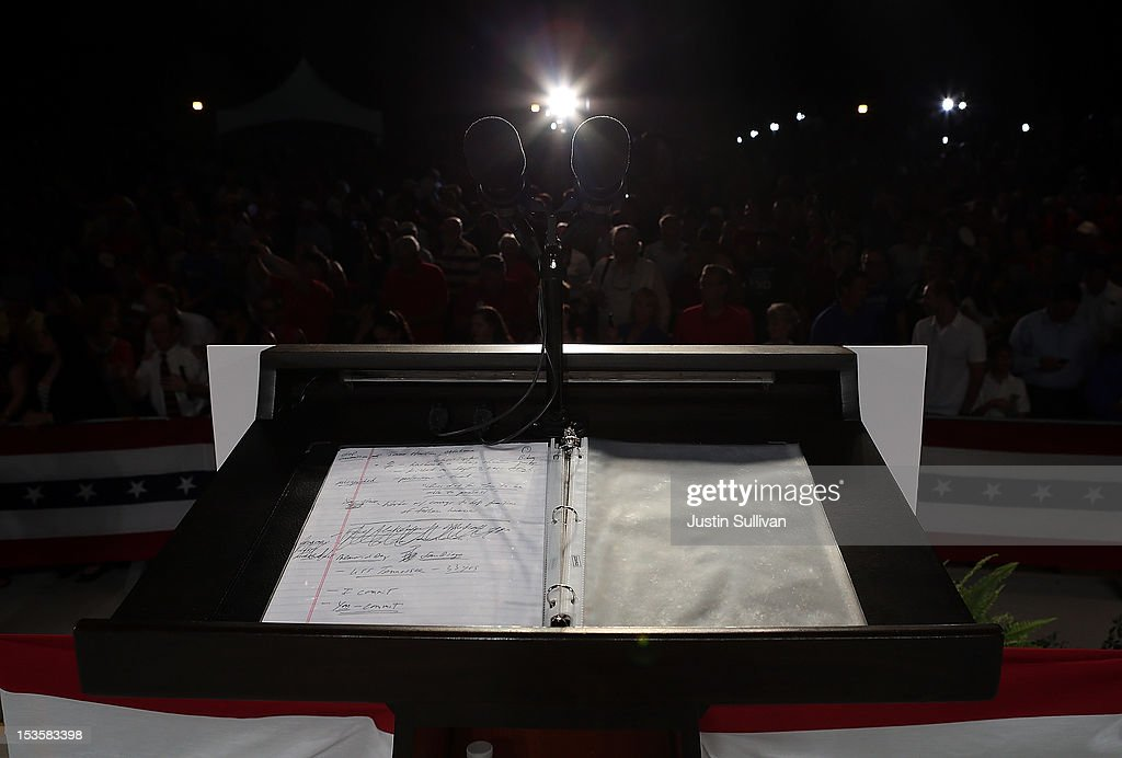 Republican presidential candidate, former Massachusetts Gov. Mitt Romney's stump speech notes sit on a podium during a campaign rally on October 6, 2012 in Apopka, Florida. Mitt Romney is campaigning in Florida after a visit to the state of Virginia yesterday.