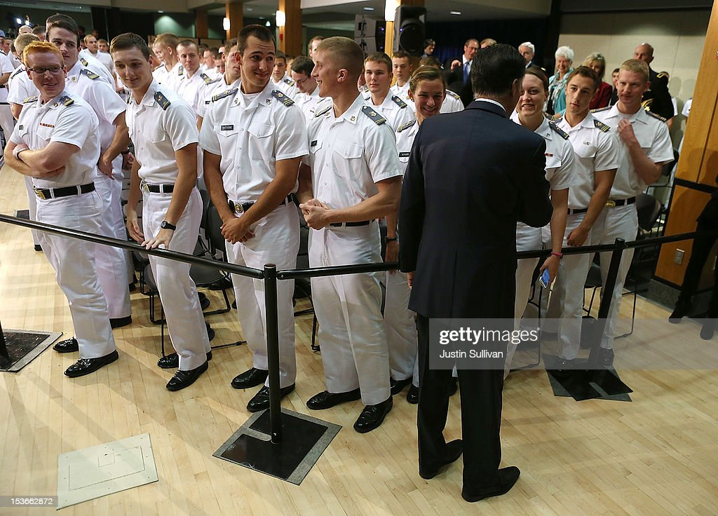 Republican presidential candidate, former Massachusetts Gov. <a gi-track='captionPersonalityLinkClicked' href=/galleries/search?phrase=Mitt+Romney&family=editorial&specificpeople=207106 ng-click='$event.stopPropagation()'>Mitt Romney</a> greets cadets after he delivered a foreign policy speech at the Virginia Military Institute on October 8, 2012 in Lexington, Virginia. <a gi-track='captionPersonalityLinkClicked' href=/galleries/search?phrase=Mitt+Romney&family=editorial&specificpeople=207106 ng-click='$event.stopPropagation()'>Mitt Romney</a> is campagning in Virginia.