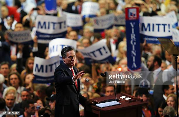 Republican presidential candidate former Massachusetts Gov Mitt Romney takes the stage to deliver his nomination acceptance speech during the final...