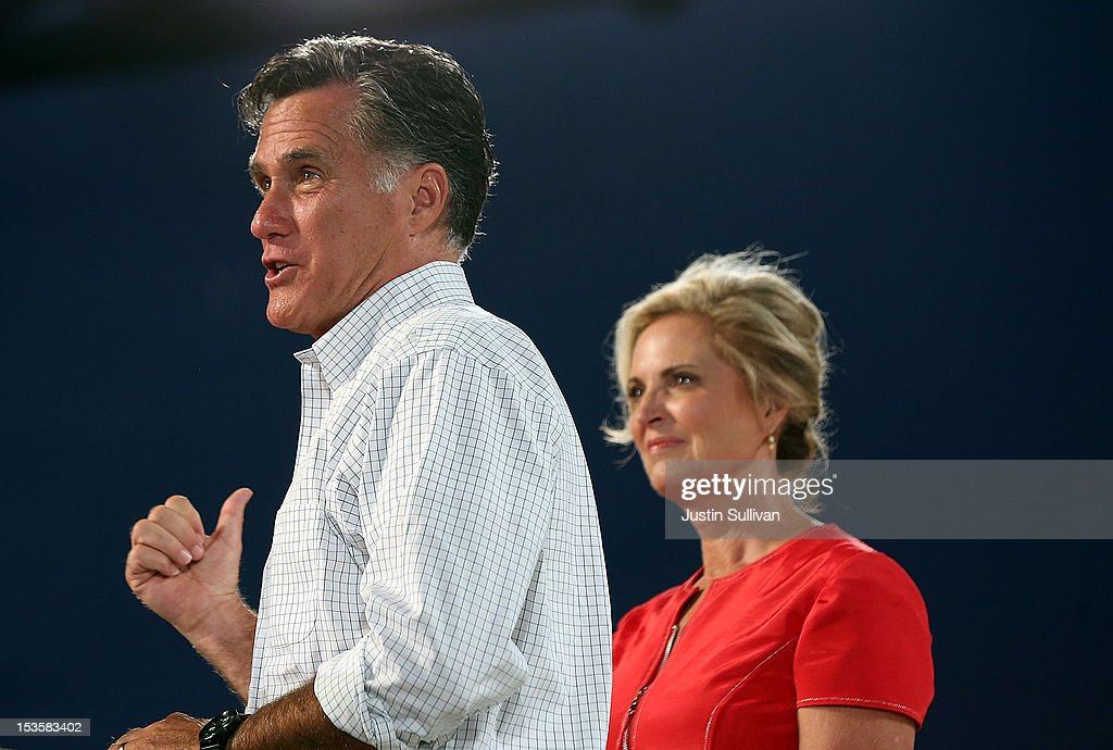 Republican presidential candidate, former Massachusetts Gov. <a gi-track='captionPersonalityLinkClicked' href=/galleries/search?phrase=Mitt+Romney&family=editorial&specificpeople=207106 ng-click='$event.stopPropagation()'>Mitt Romney</a> (L) speaks next to his wife <a gi-track='captionPersonalityLinkClicked' href=/galleries/search?phrase=Ann+Romney&family=editorial&specificpeople=868004 ng-click='$event.stopPropagation()'>Ann Romney</a> during a campaign rally on October 6, 2012 in Apopka, Florida. <a gi-track='captionPersonalityLinkClicked' href=/galleries/search?phrase=Mitt+Romney&family=editorial&specificpeople=207106 ng-click='$event.stopPropagation()'>Mitt Romney</a> is campaigning in Florida after a visit to the state of Virginia yesterday.
