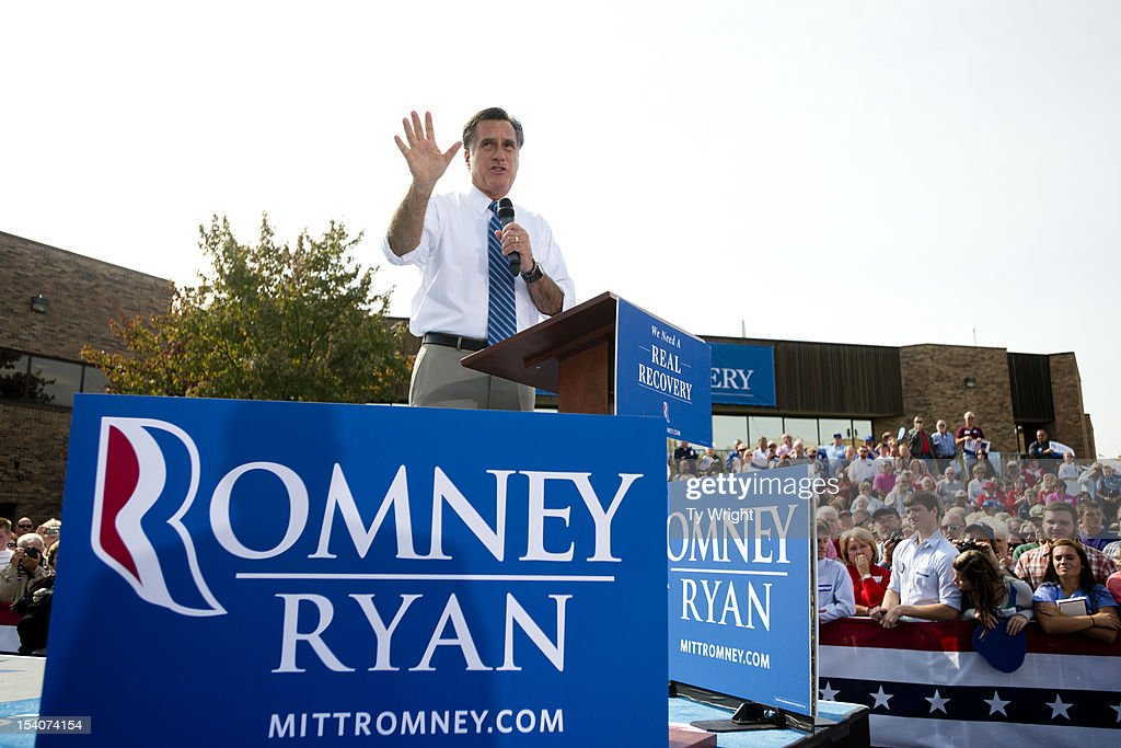 Republican presidential candidate, former Massachusetts Gov. <a gi-track='captionPersonalityLinkClicked' href=/galleries/search?phrase=Mitt+Romney&family=editorial&specificpeople=207106 ng-click='$event.stopPropagation()'>Mitt Romney</a> speaks to a crowd at Shawnee State University on October 13, 2012 in Portsmouth, Ohio. The Romney and Obama campaigns have been concentrating their efforts on Ohio to gain more supporters as Election Day approaches.