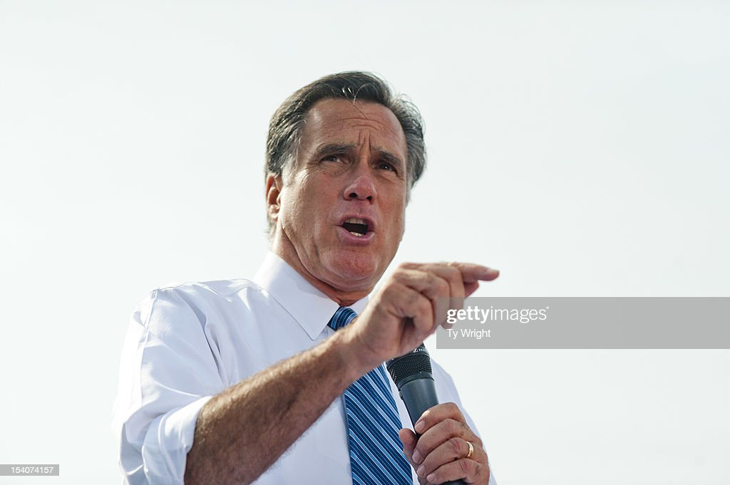 Republican presidential candidate, former Massachusetts Gov. <a gi-track='captionPersonalityLinkClicked' href=/galleries/search?phrase=Mitt+Romney&family=editorial&specificpeople=207106 ng-click='$event.stopPropagation()'>Mitt Romney</a> speaks to a crowd at Shawnee State University October 13, 2012 in Portsmouth, Ohio. The Romney and Obama campaigns have been concentrating their efforts on Ohio to gain more supporters as Election Day approaches.