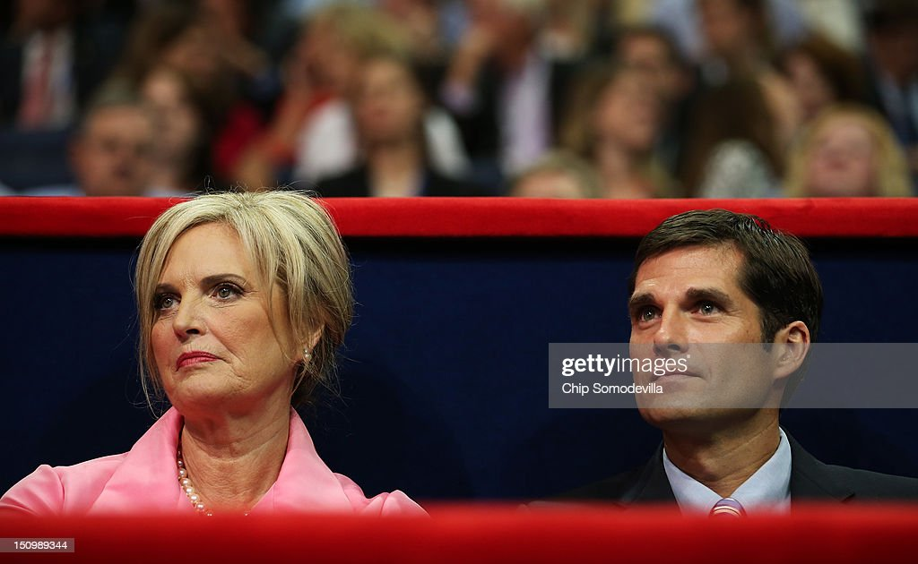 Republican presidential candidate, former Massachusetts Gov. Mitt Romney's wife, Ann Romney sits in the VIP box with her son Matt Romney during the third day of the Republican National Convention at the Tampa Bay Times Forum on August 29, 2012 in Tampa, Florida. Former Massachusetts Gov. Mitt Romney was nominated as the Republican presidential candidate during the RNC, which is scheduled to conclude August 30.