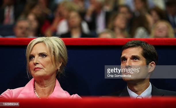Republican presidential candidate former Massachusetts Gov Mitt Romney's wife Ann Romney sits in the VIP box with her son Matt Romney during the...