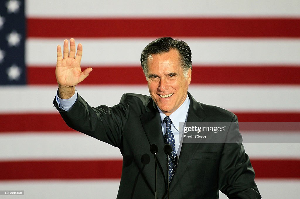 Republican presidential candidate, former Massachusetts Governor <a gi-track='captionPersonalityLinkClicked' href=/galleries/search?phrase=Mitt+Romney&family=editorial&specificpeople=207106 ng-click='$event.stopPropagation()'>Mitt Romney</a> speaks to supporters at an election-night rally April 3, 2012 in Milwaukee, Wisconsin. According to early results, Romney is projected to win the D.C, Maryland and Wisconson primaries today with a total of 98 delegates at stake