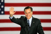 Republican presidential candidate former Massachusetts Governor Mitt Romney speaks to supporters at an electionnight rally April 3 2012 in Milwaukee...