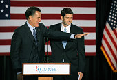 Republican presidential candidate former Massachusetts Governor Mitt Romney is introduced by Wisconsin Congressman Paul Ryan at an electionnight...