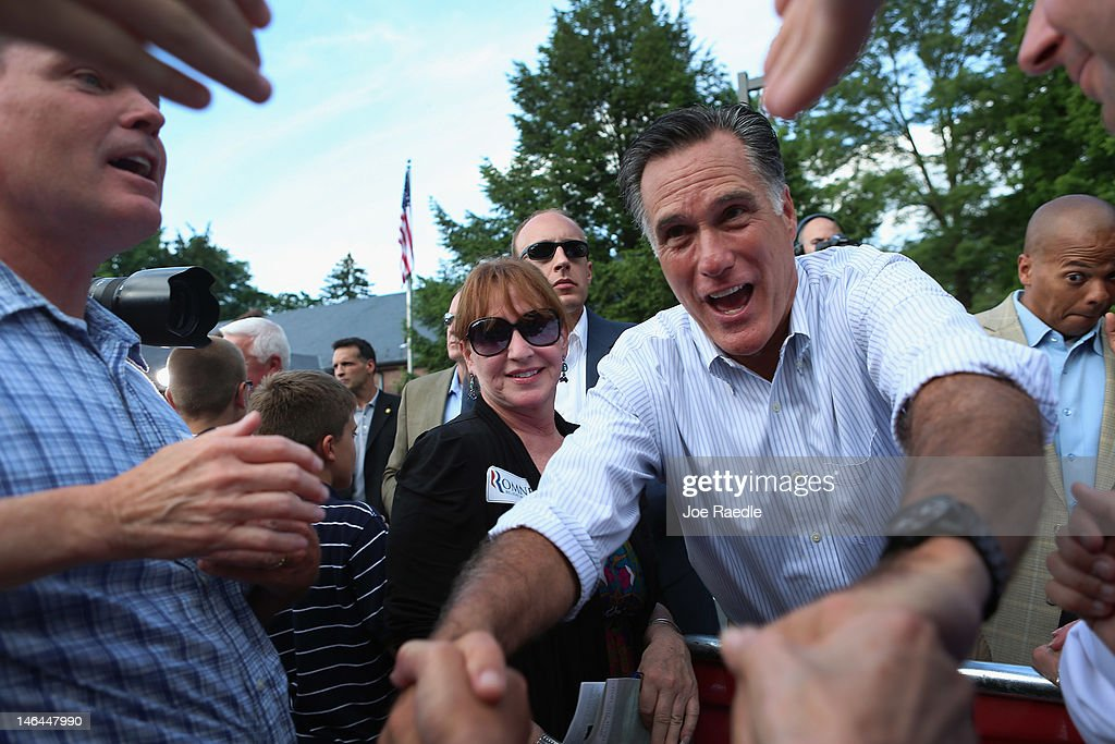 Republican presidential candidate, former Massachusetts Governor <a gi-track='captionPersonalityLinkClicked' href=/galleries/search?phrase=Mitt+Romney&family=editorial&specificpeople=207106 ng-click='$event.stopPropagation()'>Mitt Romney</a> shakes hands with people during a campaign event at the Cornwall Iron Furnace on June 16, 2012 in Cornwall, Pennsylvania. Mr. Romney continues hs campaign swing through battle ground states as he competes with President Barack Obama for votes.
