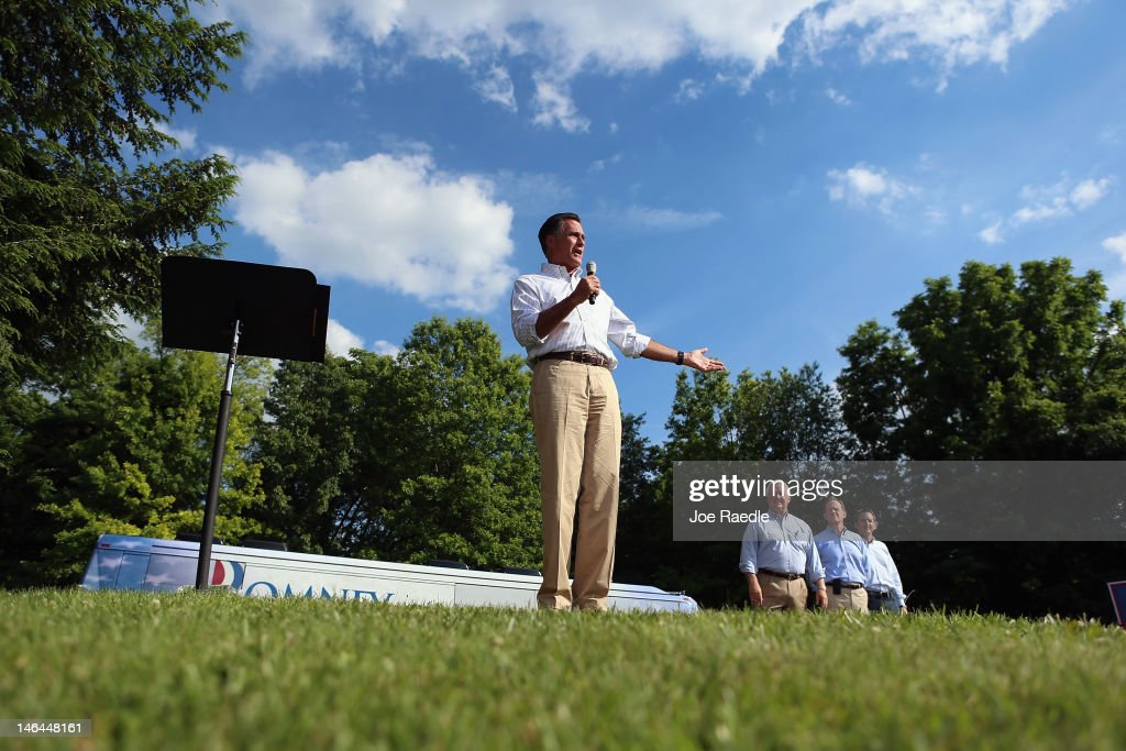 Republican presidential candidate, former Massachusetts Governor <a gi-track='captionPersonalityLinkClicked' href=/galleries/search?phrase=Mitt+Romney&family=editorial&specificpeople=207106 ng-click='$event.stopPropagation()'>Mitt Romney</a> speaks during a campaign event at the Cornwall Iron Furnace on June 16, 2012 in Cornwall, Pennsylvania. Mr. Romney continues hs campaign swing through battle ground states as he competes with President Barack Obama for votes.