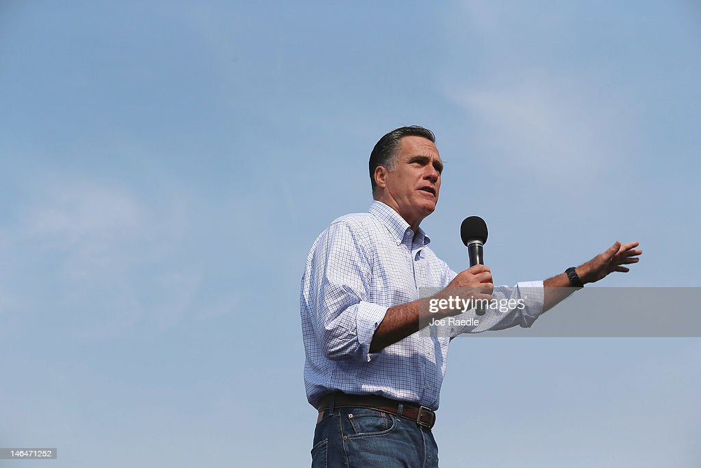 Republican Presidential candidate, former Massachusetts Governor <a gi-track='captionPersonalityLinkClicked' href=/galleries/search?phrase=Mitt+Romney&family=editorial&specificpeople=207106 ng-click='$event.stopPropagation()'>Mitt Romney</a> speaks during a pancake breakfast campaign stop at Mapleside Farms on June 17, 2012 in Brunswick, Ohio. Romney is on a campaign swing through battleground states.
