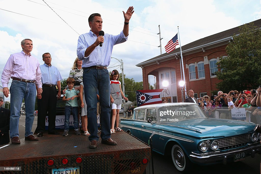 Republican presidential candidate, former Massachusetts Governor <a gi-track='captionPersonalityLinkClicked' href=/galleries/search?phrase=Mitt+Romney&family=editorial&specificpeople=207106 ng-click='$event.stopPropagation()'>Mitt Romney</a> speaks during a campaign event at K's Hamburger on June 17, 2012 in Troy, Ohio. Romney is on a campaign swing through battleground states.