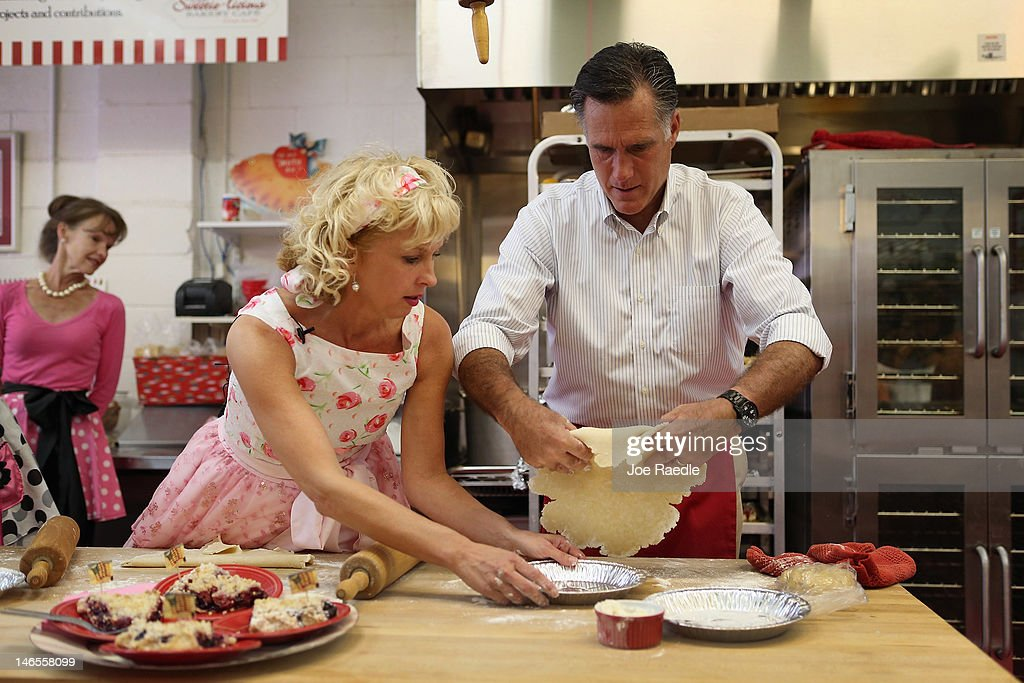 Republican Presidential candidate, former Massachusetts Governor <a gi-track='captionPersonalityLinkClicked' href=/galleries/search?phrase=Mitt+Romney&family=editorial&specificpeople=207106 ng-click='$event.stopPropagation()'>Mitt Romney</a> makes a pie shell with the help of Sweetie-licious Bakery Café store owner, Linda Hundt, during a campaign stop at her store on June 19, 2012 in DeWitt, Michigan. Mr. Romney is on the last day of a five day bus trip through battle ground states as he battles President Barack Obama for votes.