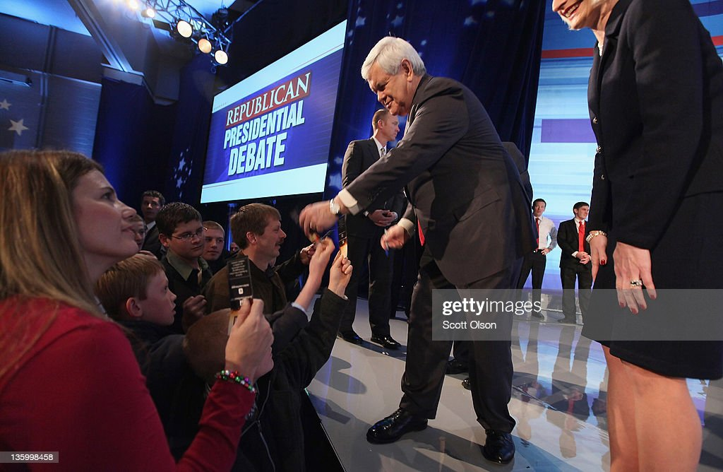 Republican presidential candidate former Speaker of the House Newt Gingrich greets people following the Fox News Channel debate at the Sioux City Convention Center on December 15, 2011 in Sioux City, Iowa. The GOP contenders are in the final stretch of campaigning in Iowa where the January 3rd caucus is the first test the candidates must face before becoming the Republican presidential nominee.
