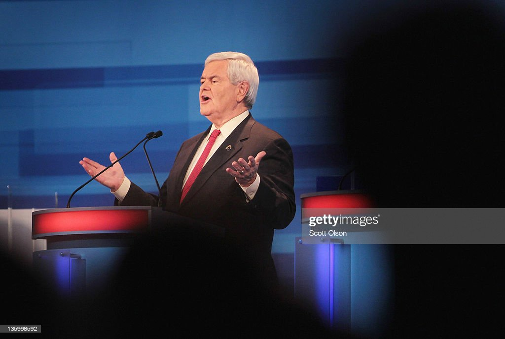 Republican presidential candidate former Speaker of the House <a gi-track='captionPersonalityLinkClicked' href=/galleries/search?phrase=Newt+Gingrich&family=editorial&specificpeople=202915 ng-click='$event.stopPropagation()'>Newt Gingrich</a> fields a question during the Fox News Channel debate at the Sioux City Convention Center on December 15, 2011 in Sioux City, Iowa. The GOP contenders are in the final stretch of campaigning in Iowa where the January 3rd caucus is the first test the candidates must face before becoming the Republican presidential nominee.