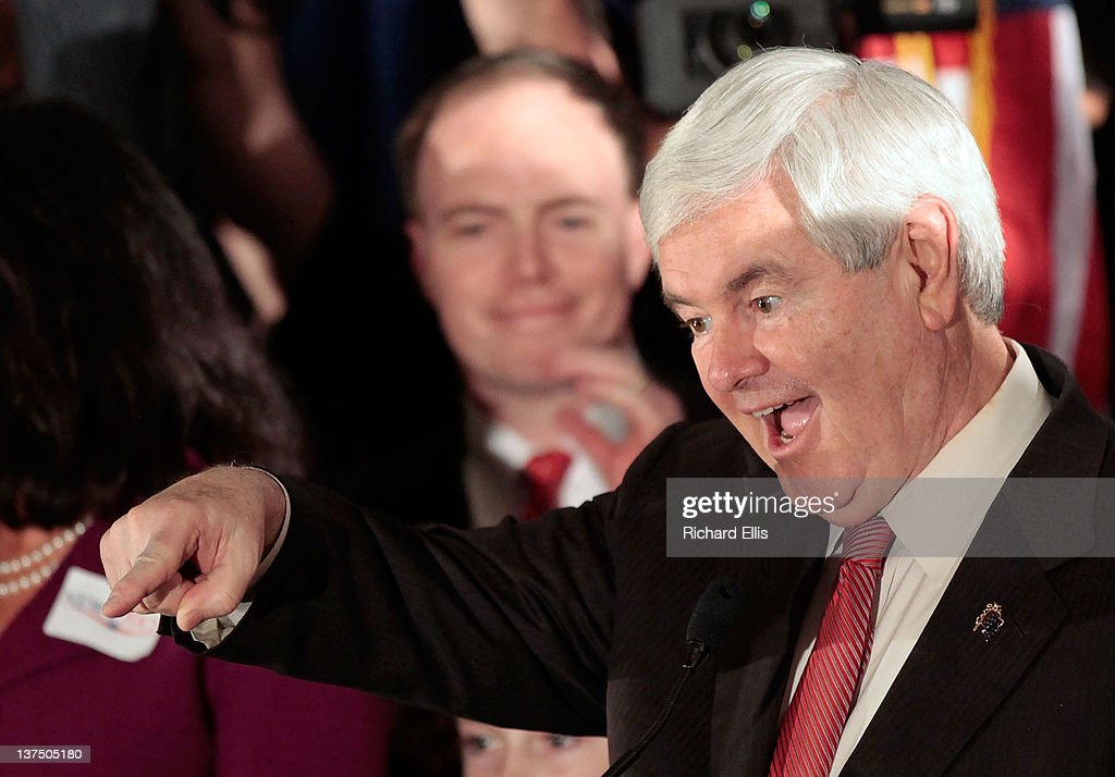 Republican presidential candidate, former Speaker of the House <a gi-track='captionPersonalityLinkClicked' href=/galleries/search?phrase=Newt+Gingrich&family=editorial&specificpeople=202915 ng-click='$event.stopPropagation()'>Newt Gingrich</a> celebrates as he arrives for a primary night rally January 21, 2012 in Columbia, South Carolina. With Gingrich finishing first in South Carolina's primary, a different candidate has emerged victorious in the first three contests for the Republican nomination.