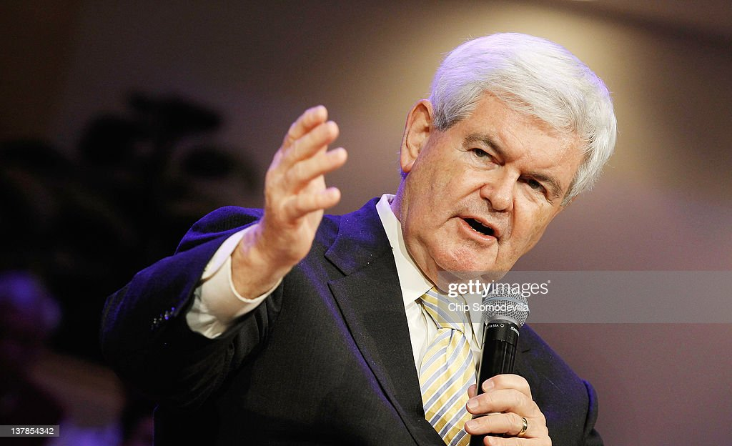 Republican presidential candidate, former Speaker of the House <a gi-track='captionPersonalityLinkClicked' href=/galleries/search?phrase=Newt+Gingrich&family=editorial&specificpeople=202915 ng-click='$event.stopPropagation()'>Newt Gingrich</a> (R-GA) speaks during the Orange County Liberty Counsel Forum at Aloma Baptist Church January 28, 2012 in Winter Park, Florida. Gingrich and fellow candidate, former Massachusetts Gov. Mitt Romney are furiously campaigning across Florida before next Tuesday's GOP primary. Gingrich predicted Saturday, 'If we win Florida, I will be the nominee.'