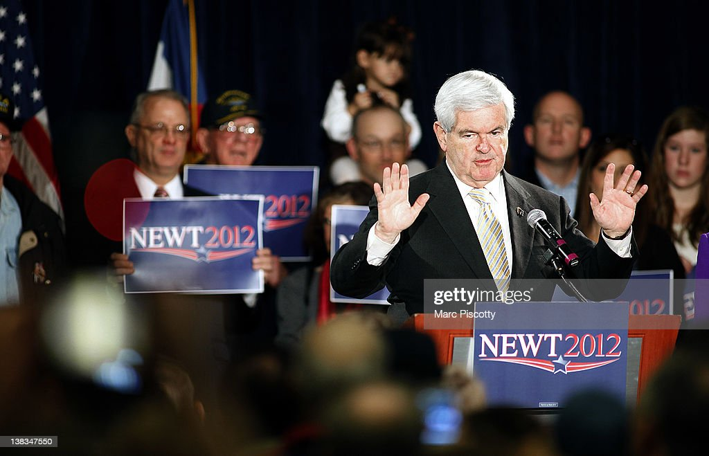Republican presidential candidate, former Speaker of the House <a gi-track='captionPersonalityLinkClicked' href=/galleries/search?phrase=Newt+Gingrich&family=editorial&specificpeople=202915 ng-click='$event.stopPropagation()'>Newt Gingrich</a> speaks during a campaign rally at the Marriott Denver West February 6, 2012 in Golden, Colorado. Gingrich is visiting Colorado to meet supporters and share his solutions for creating jobs, balancing the budget and paying down our national debt in advance of Tuesday's Republican Caucuses in the state.