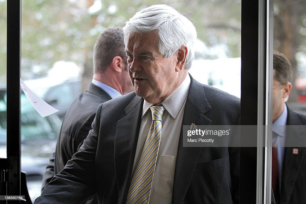 Republican presidential candidate, former Speaker of the House <a gi-track='captionPersonalityLinkClicked' href=/galleries/search?phrase=Newt+Gingrich&family=editorial&specificpeople=202915 ng-click='$event.stopPropagation()'>Newt Gingrich</a> arrives for a campaign rally at the Marriott Denver West February 6, 2012 in Golden, Colorado. Gingrich is visiting Colorado to meet supporters and share his solutions for creating jobs, balancing the budget and paying down our national debt in advance of Tuesday's Republican Caucuses in the state.