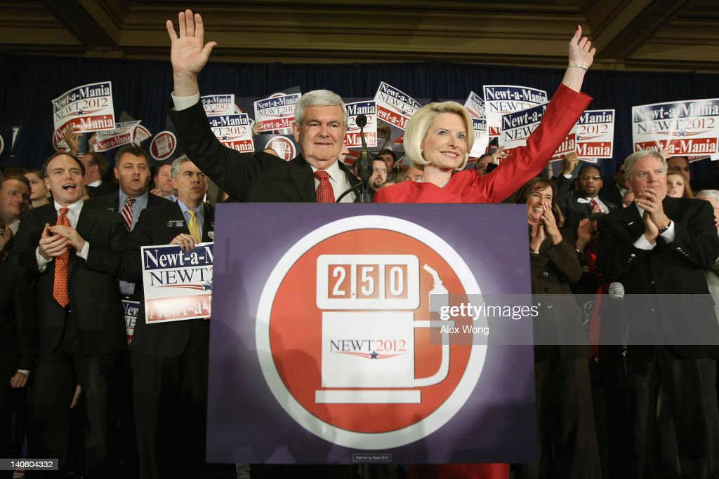 Republican presidential candidate, former Speaker of the House <a gi-track='captionPersonalityLinkClicked' href=/galleries/search?phrase=Newt+Gingrich&family=editorial&specificpeople=202915 ng-click='$event.stopPropagation()'>Newt Gingrich</a> and his wife <a gi-track='captionPersonalityLinkClicked' href=/galleries/search?phrase=Callista+Gingrich&family=editorial&specificpeople=4374496 ng-click='$event.stopPropagation()'>Callista Gingrich</a> wave after being declared the winner of the primary in Georgia during the election night rally at the Renaissance Atlanta Waverly Hotel on March 6, 2012 in Atlanta, Georgia. With over 400 delegates up for grabs voters in ten states went to the polls on Super Tuesday in the continuing fight for the Republican presidential nomination.