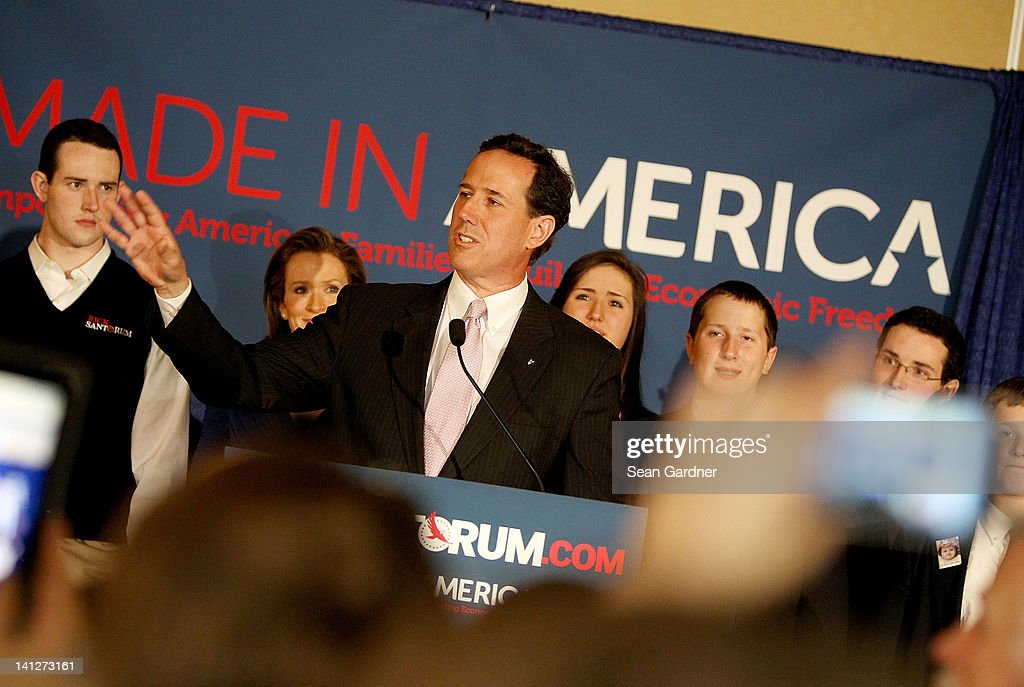 Republican presidential candidate, former U.S. Sen. <a gi-track='captionPersonalityLinkClicked' href=/galleries/search?phrase=Rick+Santorum&family=editorial&specificpeople=212911 ng-click='$event.stopPropagation()'>Rick Santorum</a> addresses supporters after winning the both Alabama and Mississippi primaries on March 13, 2012 in Lafayette, Louisiana. LouisianaÕs primary will be decided on March 24th.