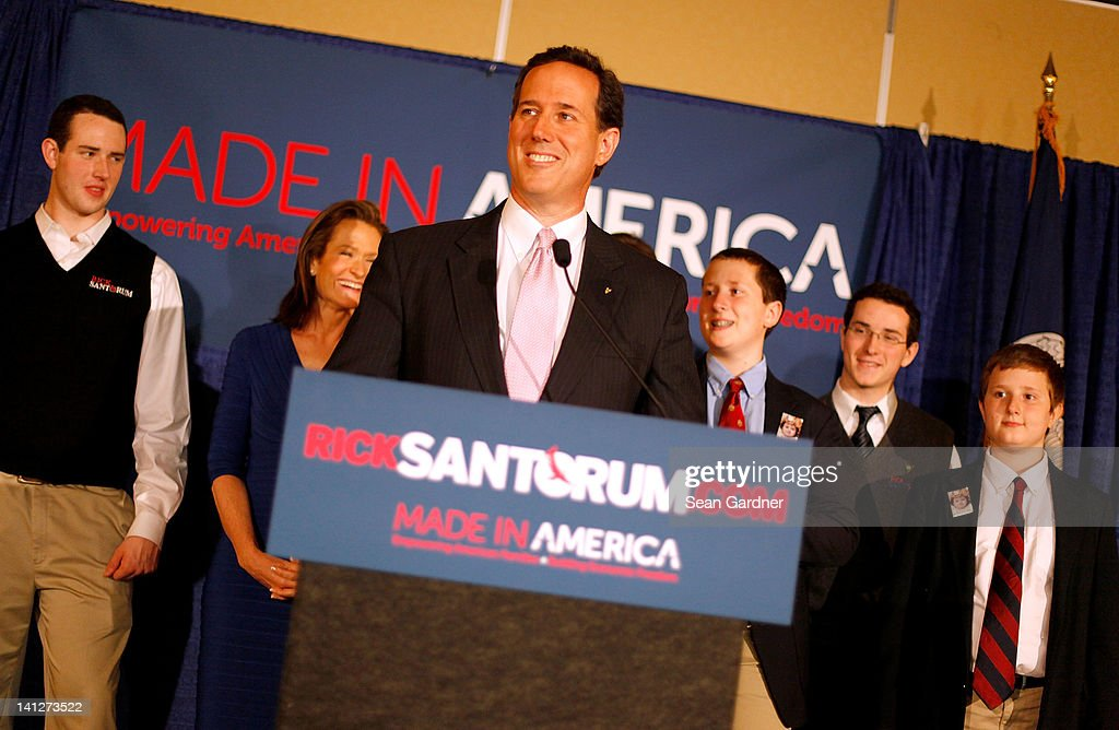 Republican presidential candidate, former U.S. Sen. <a gi-track='captionPersonalityLinkClicked' href=/galleries/search?phrase=Rick+Santorum&family=editorial&specificpeople=212911 ng-click='$event.stopPropagation()'>Rick Santorum</a> addresses supporters after winning the both Alabama and Mississippi primaries on March 13, 2012 in Lafayette, Louisiana. Louisiana's primary will be decided on March 24th.