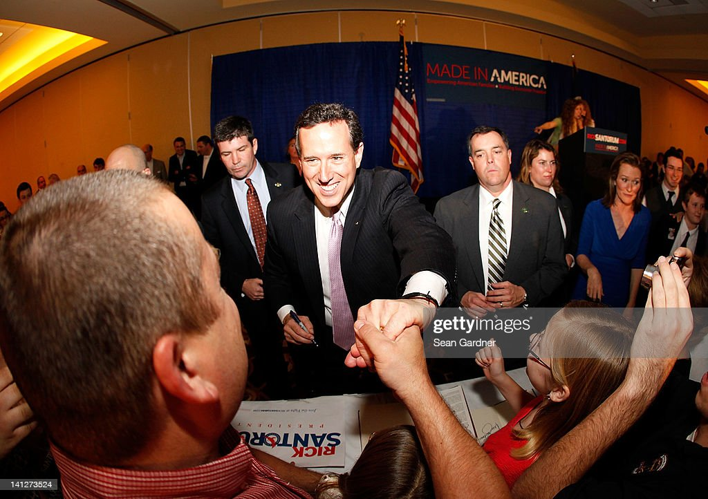 Republican presidential candidate, former U.S. Sen. Rick Santorum greats supporters after winning the both Alabama and Mississippi primaries on March 13, 2012 in Lafayette, Louisiana. Louisiana's primary will be decided on March 24th.