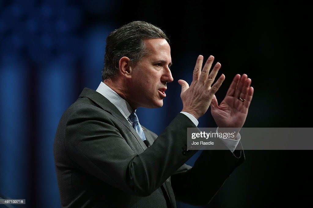 Republican presidential candidate former U.S. Sen. Rick Santorum (R-PA) speaks during the Sunshine Summit conference being held at the Rosen Shingle Creek on November 14, 2015 in Orlando, Florida. The summit brought Republican presidential candidates in front of the Republican voters.