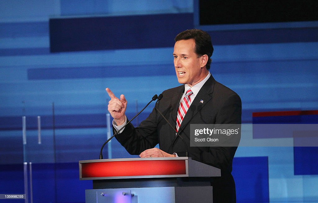 Republican presidential candidate former U.S. Senator Rick Santorum (R-PA) fields a question during the Fox News Channel debate at the Sioux City Convention Center on December 15, 2011 in Sioux City, Iowa. The GOP contenders are in the final stretch of campaigning in Iowa where the January 3rd caucus is the first test the candidates must face before becoming the Republican presidential nominee.