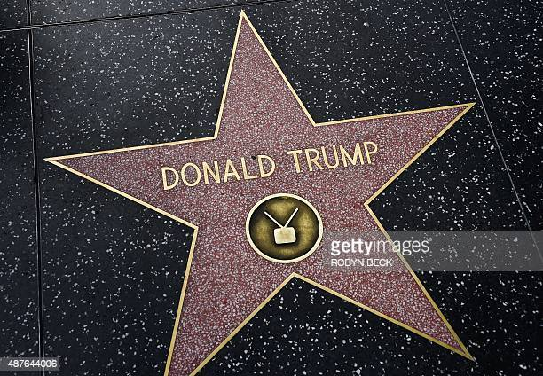 Republican presidential candidate frontrunner Donald Trump's star on the Hollywood Walk of Fame in seen September 10 2015 in Hollywood California...