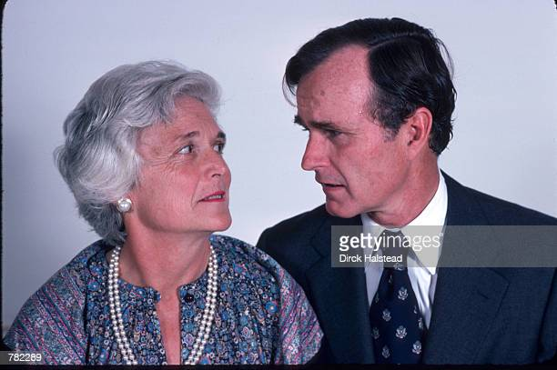 Republican Presidential candidate George Bush looks at his wife Barbara November 1 1978 in Hoston TX Bush is campaigning for the presidential primary...
