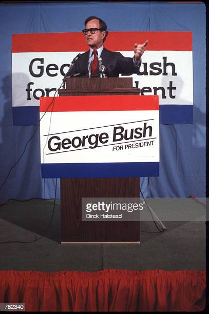 Republican presidential candidate George Bush speaks March 1980 in USA Bush is campaigning for the presidential elections
