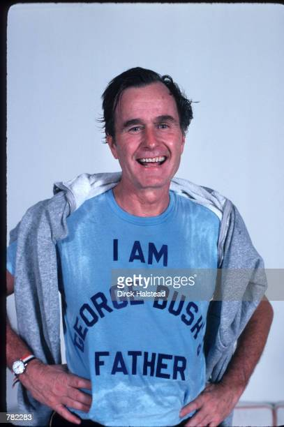 Republican Presidential candidate George Bush wearing a tshirt referencing his son George W Bush November 1978 in Texas USA Bush is campaigning for...