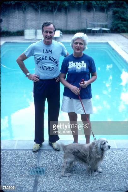 Republican Presidential candidate George Bush wearing a tshirt referencing his son George W Bush stands with his wife Barbara November 1978 in New...