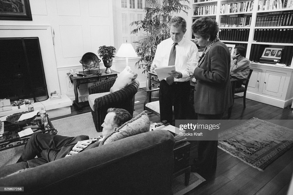 Republican presidential candidate George W Bush awaits the poll results with his campaign communications director Karen Hughes Bush is relaxing in...