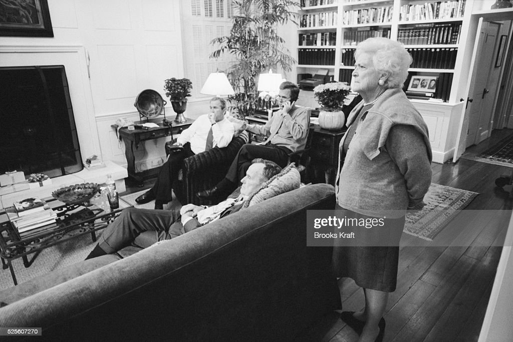 Republican presidential candidate George W Bush awaits the poll results with his family at the Governor's Mansion in Austin Texas on Election Day...