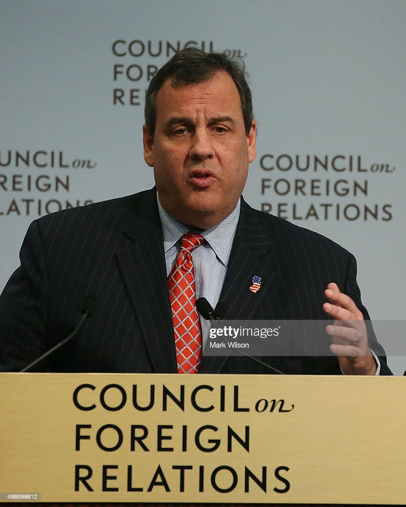 Republican presidential candidate, Gov. <a gi-track='captionPersonalityLinkClicked' href=/galleries/search?phrase=Chris+Christie&family=editorial&specificpeople=6480114 ng-click='$event.stopPropagation()'>Chris Christie</a> (R-NJ) speaks at the Council on Foreign Relations, November 24, 2015 in Washington, DC. Christie talked about his days as U.S. Attorney for the state of New Jersey.