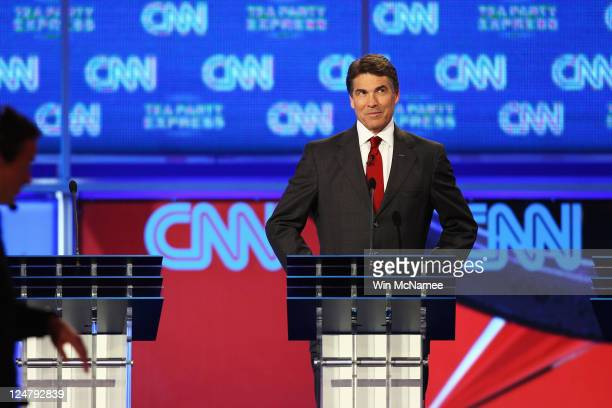 Republican presidential candidate Gov Rick Perry at his podium during a break in the presidential debate sponsored by CNN and The Tea Party Express...