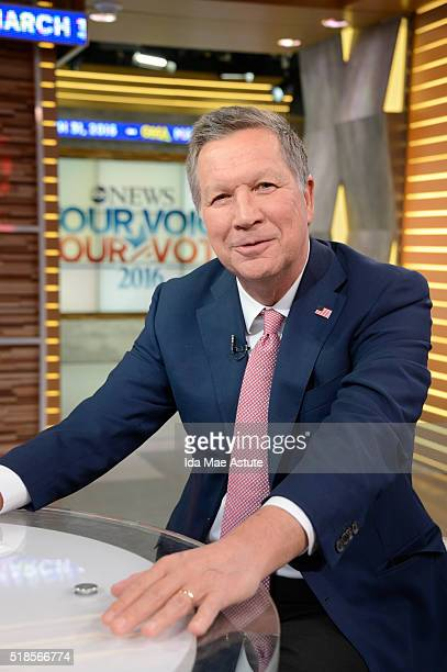 AMERICA Republican Presidential Candidate Governor John Kasich is a guest on 'Good Morning America' 3/31/16 airing on the ABC Television Network JOHN