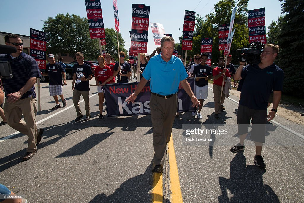 Republican Presidential candidate Governor John Kasich of Ohio marching in the Milford NH Labor Day Parade on September 7 2015
