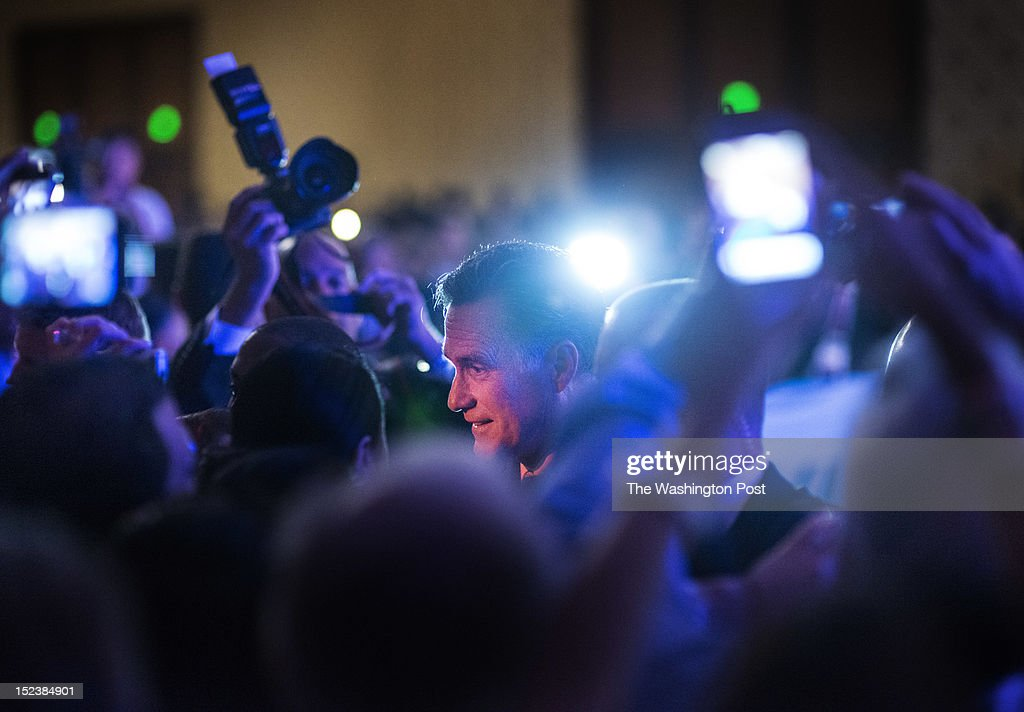Republican Presidential candidate Governor Mitt Romney speaks to the US Hispanic Chamber of Commerce Conference in Los Angeles, California, on Monday, September 17, 2012.