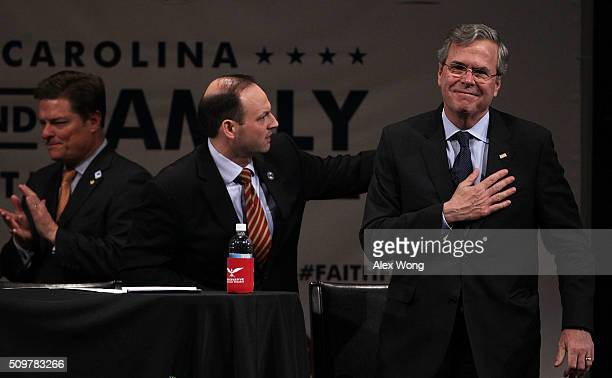 Republican presidential candidate Jeb Bush acknowledges the crowd after he participated in the South Carolina Faith and Family Presidential Forum...