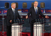 Republican presidential candidate Jeb Bush and Donald Trump take part in the presidential debates at the Reagan Library on September 16 2015 in Simi...