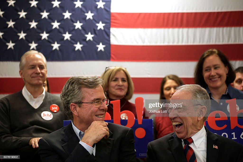 Republican presidential candidate <a gi-track='captionPersonalityLinkClicked' href=/galleries/search?phrase=Jeb+Bush&family=editorial&specificpeople=171487 ng-click='$event.stopPropagation()'>Jeb Bush</a> (bottom left) and U.S. Senator <a gi-track='captionPersonalityLinkClicked' href=/galleries/search?phrase=Chuck+Grassley&family=editorial&specificpeople=504960 ng-click='$event.stopPropagation()'>Chuck Grassley</a> (R-IA) share a laugh together during a campaign event for Bush at the Cedar Falls Eagles Club January 30, 2016 in Cedar Falls, Iowa. Bush, who is seeking the nomination for the Republican Party, is on the presidential campaign trail across Iowa ahead of the Iowa Caucus taking place Monday, a week before the New Hampshire Primaries.
