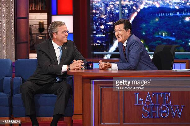 Republican Presidential candidate Jeb Bush chats with Stephen on the premiere of The Late Show with Stephen Colbert Tuesday Sept 8 2015 on the CBS...