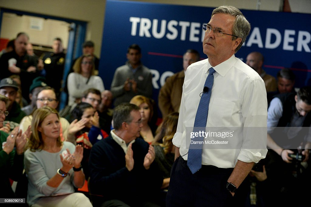 Republican Presidential candidate Jeb Bush holds a town hall at Woodbury School February 7, 2016 in Salem, New Hampshire. Candidates are in a last push for votes ahead of the first in the nation primary on February 9.
